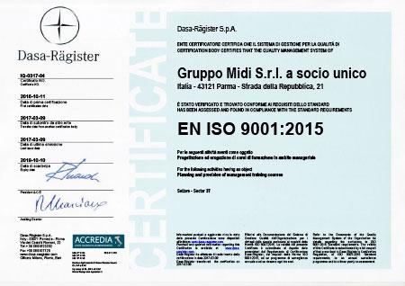 certificazioni gruppo midi, certificazione ISO 9001:2015